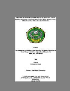 Motif Kain Tapis Pada Kerajinan Tradisional Adat Lampung Dalam