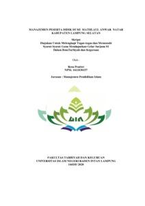 Manajemen Peserta Didik Di Mi Mathlaul Anwar Natar Kabupaten Lampung Selatan Raden Intan Repository