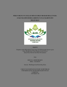 Peran Orang Tua Dalam Menanamkan Ibadah Shalat Pada Anak Usia Dini Di Desa Gedong Tataan Kabupaten Pesawaran Raden Intan Repository