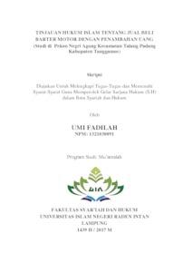 Tinjauan Hukum Islam Tentang Jual Beli Barter Motor Dengan