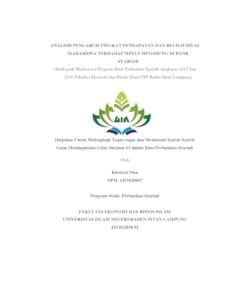 Analisis Pengaruh Tingkat Pendapatan Dan Religiusitas Mahasiswa Terhadap Minat Menabung Di Bank Syariah Studi Pada Mahasiswa Program Studi Perbankan Syariah Angkatan 2015 Dan 2016 Fakultas Ekonomi Dan Bisnis Islam Uin Raden Intan