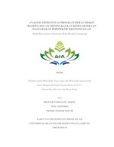 Analisis Efektivitas Program Beras Miskin Raskin Dalam Meningkatkan Kesejahteraan Masyarakat Perspektif Ekonomi Islam Studi Kecamatan Sukarame Kota Bandar Lampung Raden Intan Repository